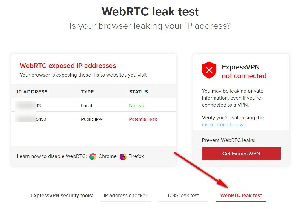 Express VPN WebRTC leak test